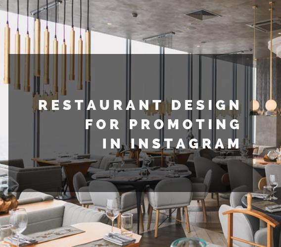 Restaurant interior design for promoting in Instagram. Infographics